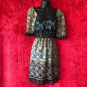 Boho Patterned Sheer Sun Dress, Size M